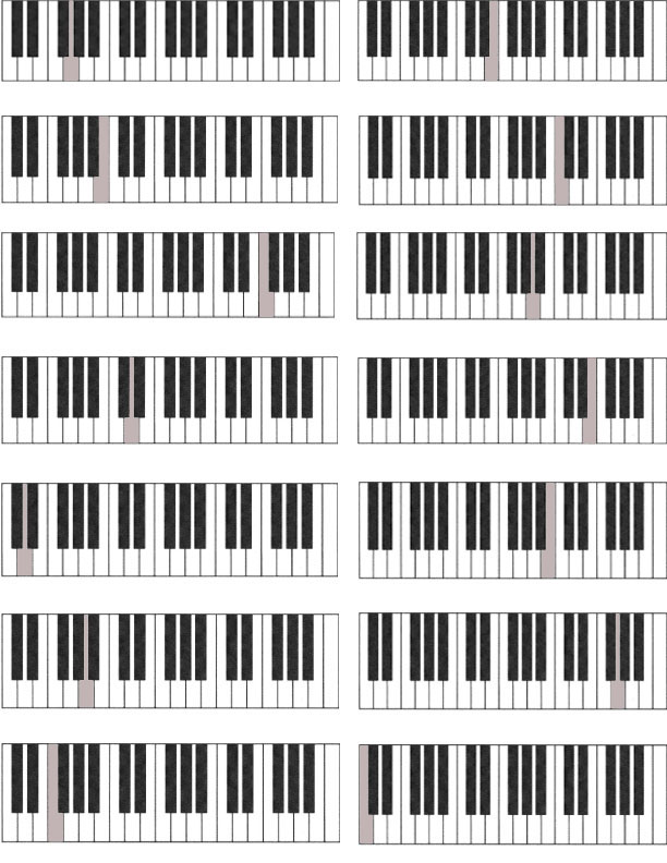 Noteworthy Music Studio Worksheets and Flash Cards – Blank Keyboard Worksheet